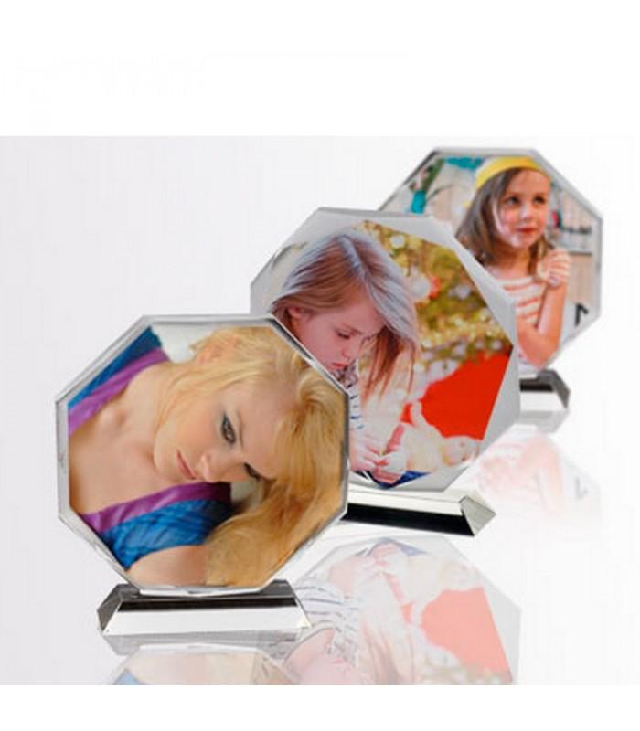 Portafotos de cristal octagonal